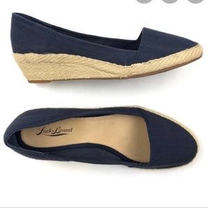 Lucky Brand Canvas Navy Blue Wedges